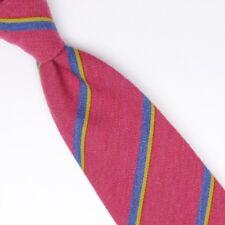 Gladson Mens Silk Necktie White Navy Blue Red Stripe Weave Woven Tie Italy