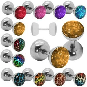 7mm-Ear-Stud-Fakeplug-Leo-Leopard-Checked-Glitter-Piercing-Pattern-Squares-Steel