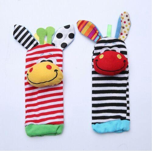Multi Cute Animal Infant Baby Kids Hand Wrist Bells Foot Sock Rattles Soft Toys