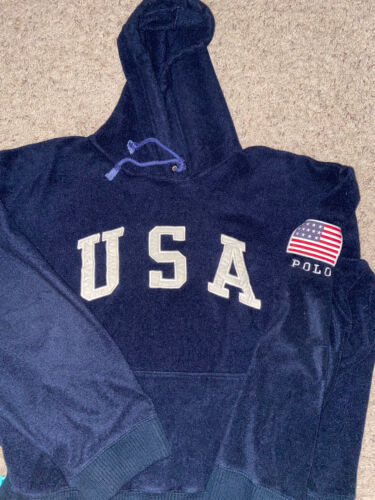 Vintage Polo Sport USA Fleece Hoodie Size XL Snow