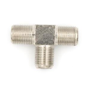 Thread-F-Socket-T-SplitterAdaptorCable-TV-Aerial-Freeview-Virgin-Media-Silver-XE
