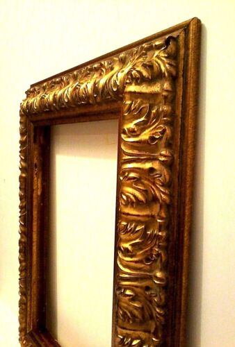 """12 X 16 STANDARD PICTURE FRAME 3 1//2/"""" WIDE GOLD LEAF CARVED REVERSE canvas allow"""