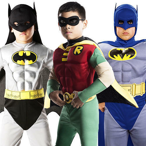Deluxe Muscle Batman & Robin Boys Fancy Dress Superhero Costume Kids Ages 3-10