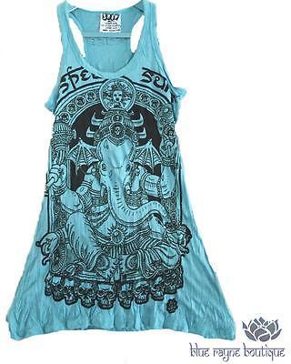 Fair Trade 100% Cotton Batman Ganesh Turquoise Tank Dress by Sure Design