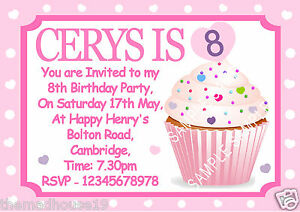 Details About Personalised Girls Cupcake Birthday Party Invitations X 10 So Pretty