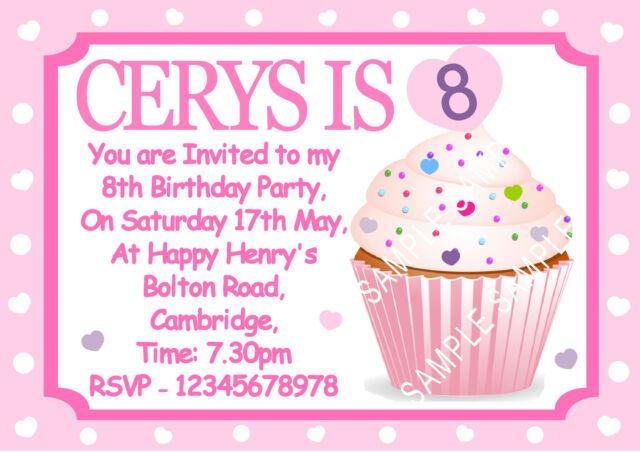 Personalised Girls Cupcake Birthday Party Invitations x 10 So pretty