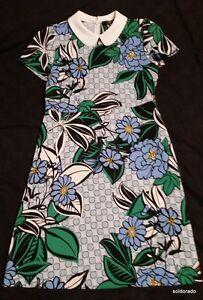 Hallhuber-vestito-fiori-con-bianco-colletto-peter-pan-TGL-34-UK6-NUOVO