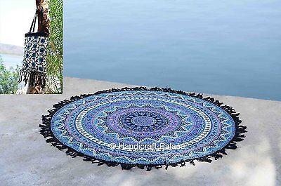Indian Round Elephant Star Mandala Hippie Tapestry Beach Throw Yoga Mat With Bag