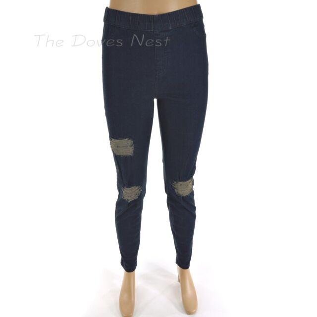 021ede769f8eb6 SIMPLY VERA WANG Women's Size LARGE 12-14 Distressed RIPPED BLUE DENIM  LEGGINGS