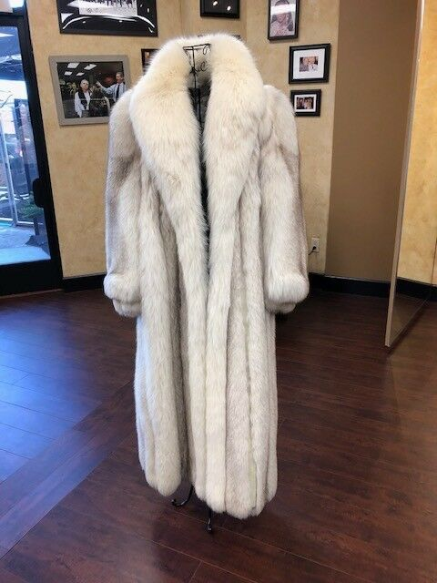 bluee Fox Full Length Fur Coat