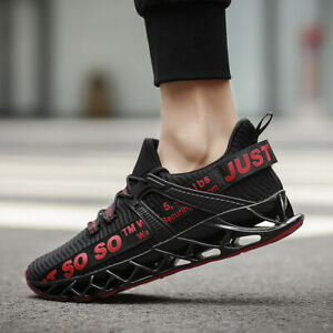 Mens-Blade-Black-Tech-Sports-Shoes-Sneakers-Flyknit-Athletic-Trainer-Springblade
