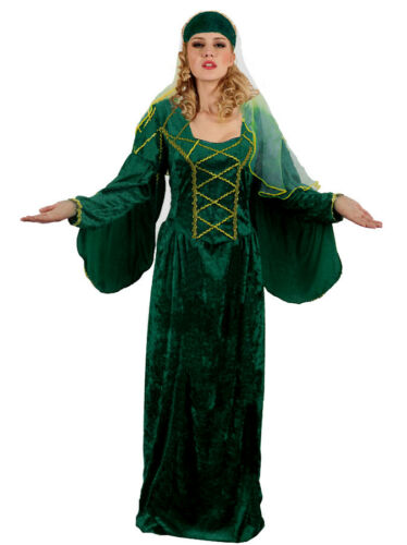 Ladies Emerald Green Tudor Medieval Fancy Dress Costume Outfit New XL16-20