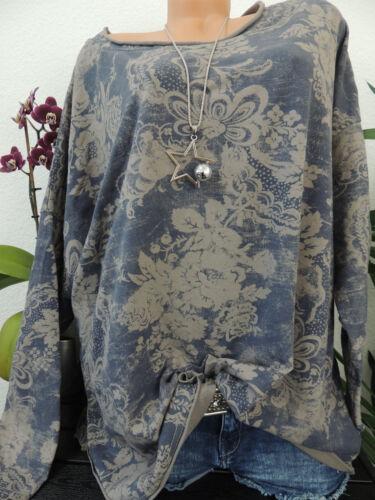 Damen Sweatshirt Größe 44 46 48 50 Übergröße Pullover Langarm Blumenmuster 9