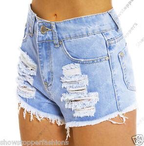 Talla 8 10 12 14 16 Nuevo Cintura Alta Pantalones Cortos Mujer Vaqueros Rasgar Ebay