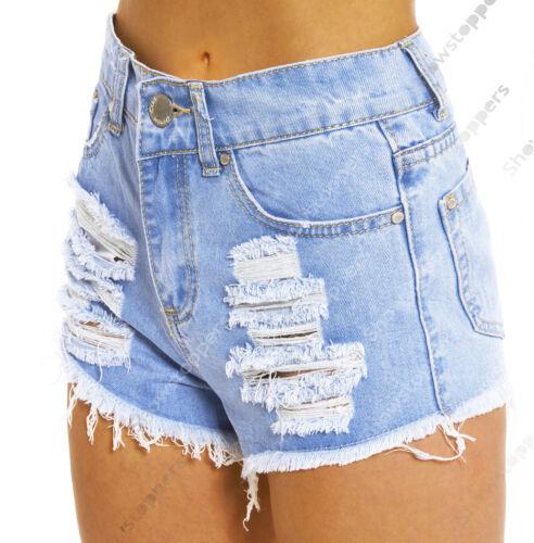 Taglia 8 10 12 14 16 Nuovo vita alta shorts signore Denim RIP Vita Alta Hotpants