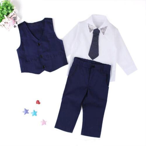 4PCS Gentleman Boys Kids Baby Waistcoat+Shirt Tops+Tie+Pants Outfits Clothes Hot