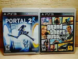 PS3-Video-Game-Lot-Portal-2-amp-Grand-Theft-Auto-V-GTA-5-Playstation-3-Complete