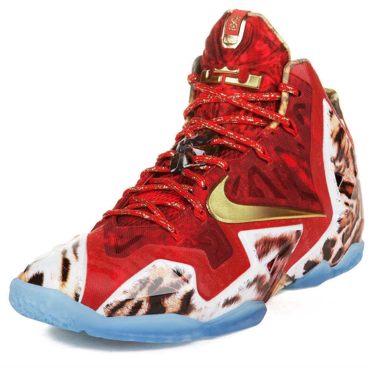 Nike Mens Lebron XI Premium Challenge Red Metallic gold-Ic 650884-674 Size 7.5
