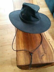 Outback Trading Company Hat Kodiak Size Medium Made In USA Black w/Strap Aussie