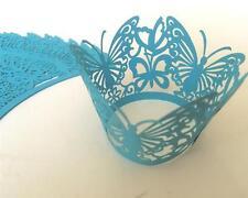 24 x blau CUPCAKE WRAPPER Verpackung Deko Muffin Hüllen Hochzeit Party W1