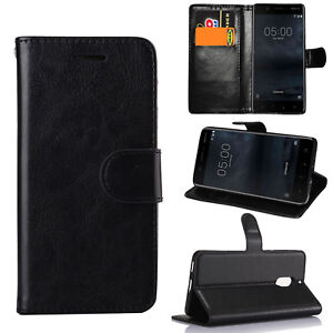 Noir-en-Cuir-Premium-Flip-Case-Stand-Cover-Pour-Divers-Nokia-telephones-intelligents