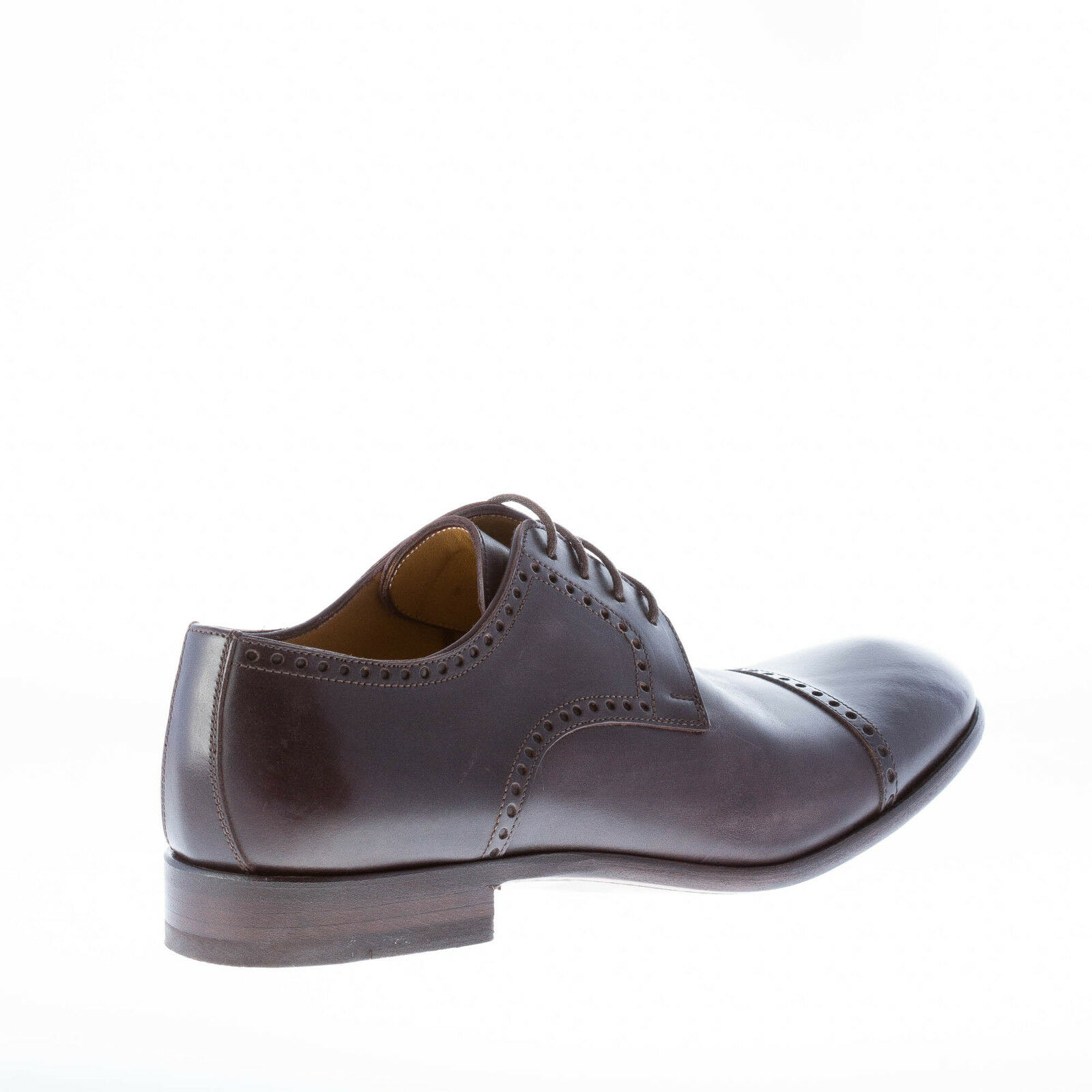 MIGLIORE herren schuhe made in Italy Dark brown leather derby perforated cap toe