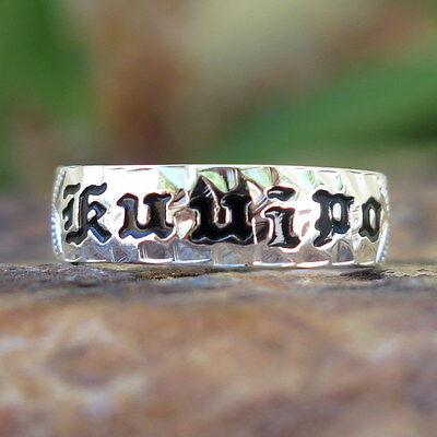 Hawaiian 925 Silver Black KUUIPO Cut Out Edge Wedding Ring Band 6mm SR1056