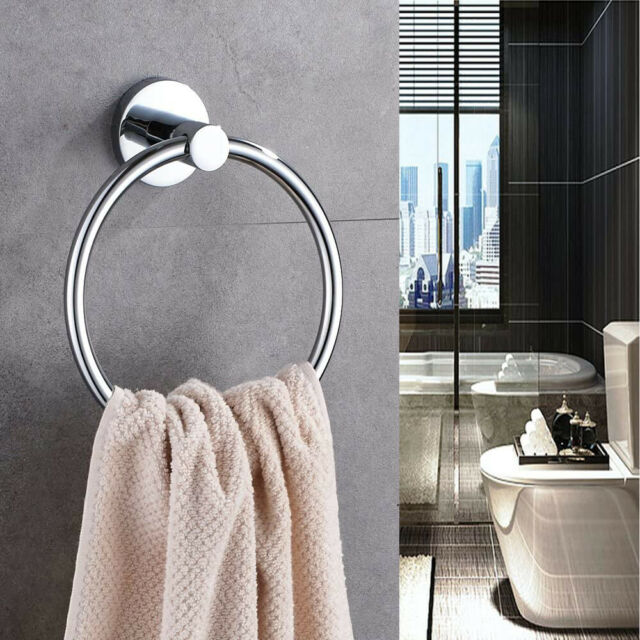Essential Bathroom Hand Towel Ring Polished Chrome Wall Round Tower Rack Holder