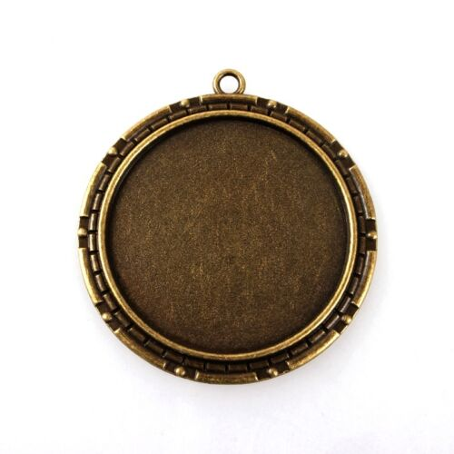 10pc Alloy Vintage Flat Round Tray Pendant Cabochon Bezel Setting Antique Bronze