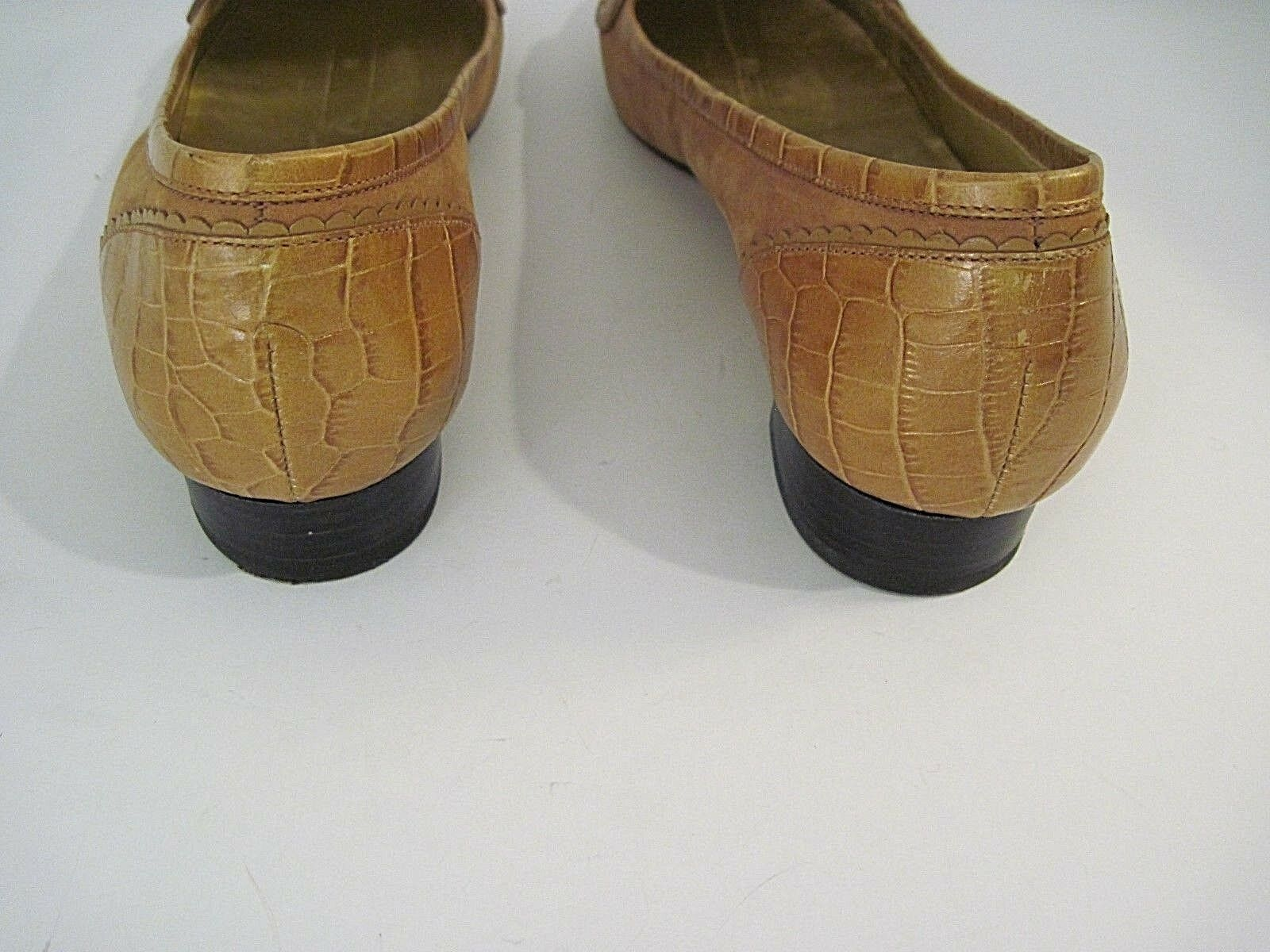 COLE HAAN BUCKLE BROWN LEATHER SUEDE ALLIGATOR CROC GOLD BUCKLE HAAN SHOES SIZE 7B f3c2ec