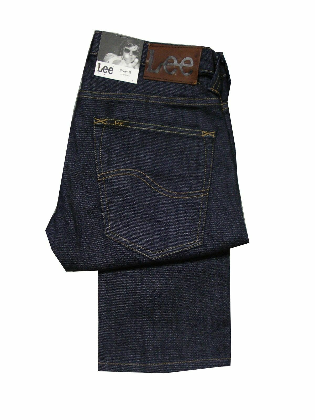 MENS TALL 36 INCH LEG X LONG LEG LEE POWELL SLIM FIT JEAN - DARK INDIGO blueE
