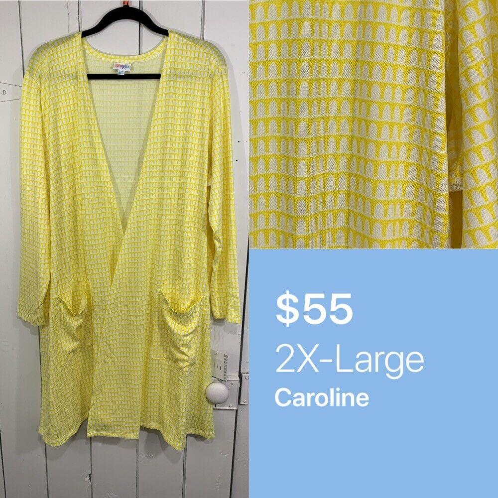 Lularoe 2XL XXL Caroline Cardigan Sweater Yellow White Geometric  NEW NWT