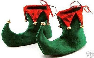 GREEN AND RED JESTER ELF GNOME BOOTS SHOES CHRISTMAS XMAS FANCY DRESS UK  BN