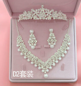 Pearl-Flower-Wedding-Hair-Tiara-Crown-Set-Bridal-Necklace-Earring-Jewelry-Kit