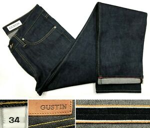 Gustin-NEU-97-Webekante-RAW-Straight-Jeans-Made-in-USA-sz-34-w35-034-l37-034-XLong