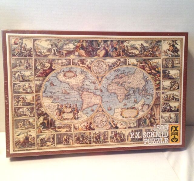 Vintage FX Schmid Jigsaw Puzzle Antique World Map Pcs West - Antique world map picture