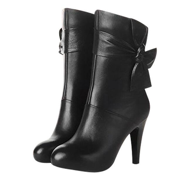botas bajo zapatos tacón de aguja 9 .5 cm negro elegantes como piel 9615