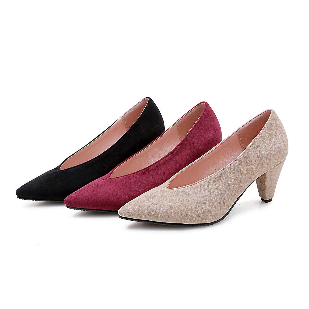 Suede Pointy Toe Kitten Heels Pull On Women Heels shoes Casual Ladies shoes New