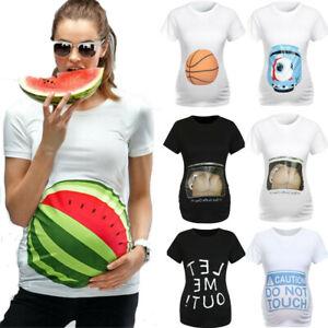 Maternity-Short-Sleeve-Tops-Tee-Casual-3D-Print-Pregnant-Woman-T-Shirt-Blouse-ED