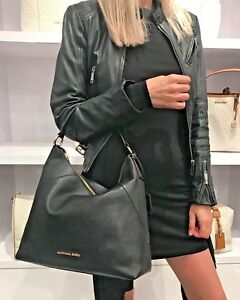 037710bf4366 MICHAEL KORS KARSON LARGE SHOULDER BAG LEATHER BLACK 192317133752 | eBay