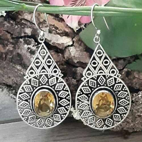 ethnic earrings Yellow Citrine Gemstone earrings in solid 925 sterling silver