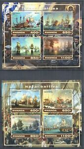 RWANDA-2017-BLOCK-SET-MNH-SAILING-SHIP-SEGELSCHIFF-BATTLE-NAVAL-BATTLES