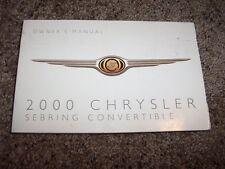 2000 Chrysler Sebring Convertible Owner Operator Manual JX JXi Limited 2.5L V6