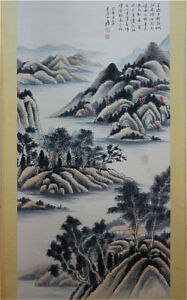 Excellent-Chinese-100-Hand-Painting-amp-Scroll-Landscape-By-Zhang-Daqian-ZWW3