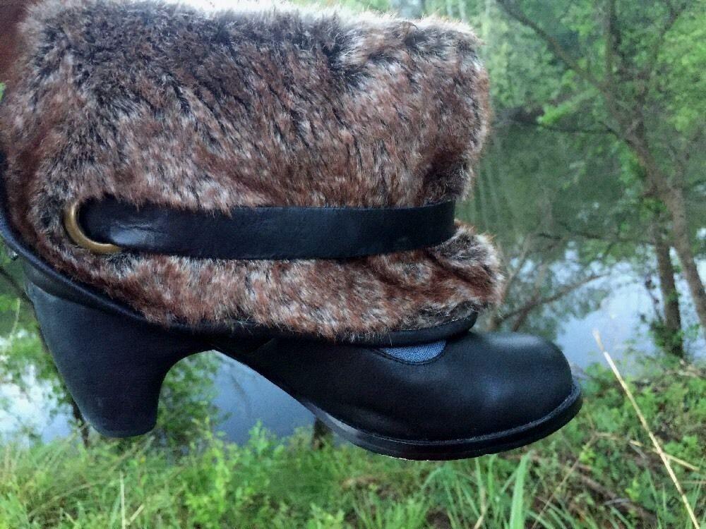 IRREGULAR CHOICE stivali Clogs High Heels Rabbit Fur LEATHER donna scarpe Sz 7.5