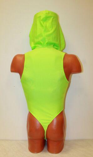 Bilelika 153-70 Spandex /& Mesh Thong Men Leotard  Large Hood Zipper Front Size L