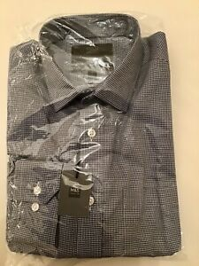 Marks-And-Spencer-Mens-Pure-Cotton-Non-Iron-Shirt-Size-15-Navy-Mix
