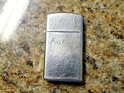 1978 Zippo Slim Lighter Engraved Kathy, Just Needs Fluid A19