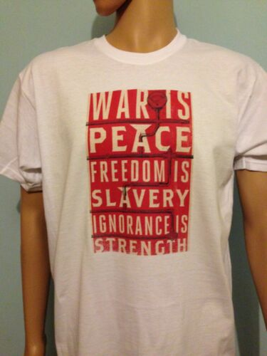 Men Ladies FREEDOM IS SLAVERY George Orwell T Shirt 1984 WAR IS PEACE