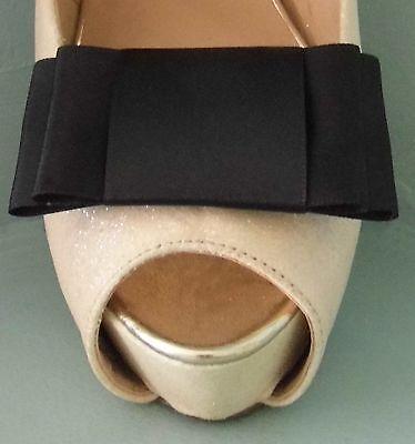 2 Negro Satinado Grande Doble Arco Clips Para Zapatos-otros colores a petición
